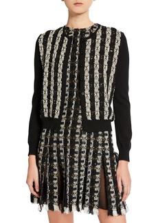 Oscar de la Renta Tweed-Striped Button-Front Cardigan