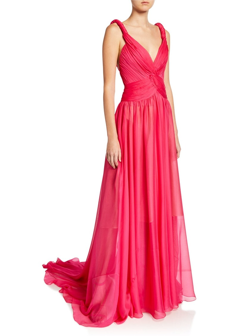 Oscar de la Renta Twisted Silk Gauze Gown
