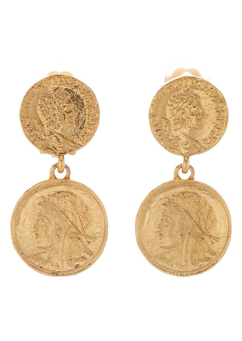 Oscar de la Renta Two Coin Clip Drop Earrings