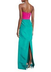 Oscar de la Renta Two-Tone Faille Column Gown