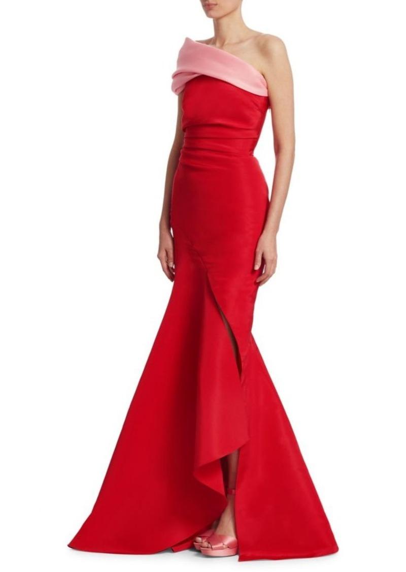 Oscar de la Renta Two-Tone Strapless Silk Gown