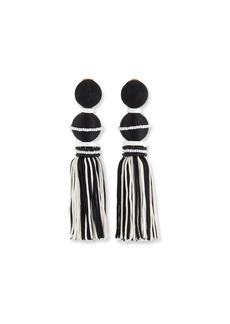 Oscar de la Renta Two-Toned Tassel Drop Clip Earrings