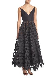 Oscar de la Renta V-Neck Geometric Tulle Gown