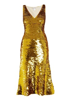 Oscar De La Renta V-neck sequin-embellished silk-blend dress