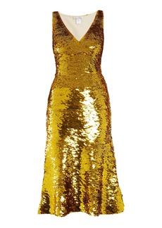 Oscar De La Renta V-neck sequin-embellished silk-blend dress
