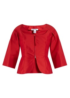 Oscar De La Renta V-neck techno cotton-blend jacket