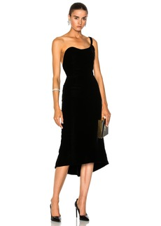 Oscar de la Renta Velvet One Shoulder Cocktail Dress