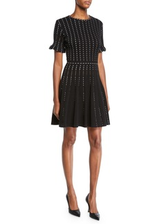 Oscar de la Renta Vertical-Dotted Knit Short-Sleeve Dress