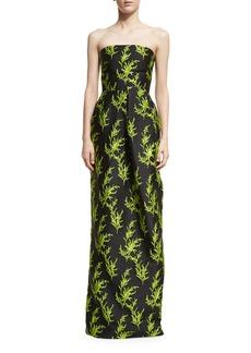 Oscar de la Renta Vine-Embroidered Strapless Column Gown