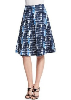 Oscar de la Renta Watercolor Plaid Pleated A-Line Skirt
