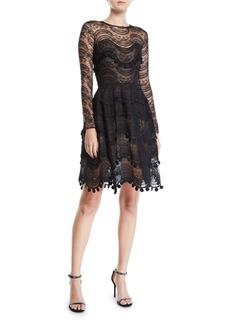 Oscar de la Renta Wavy Lace Scalloped Illusion Dress