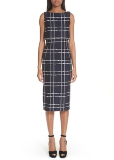 Oscar de la Renta Windowpane Popover Sheath Dress