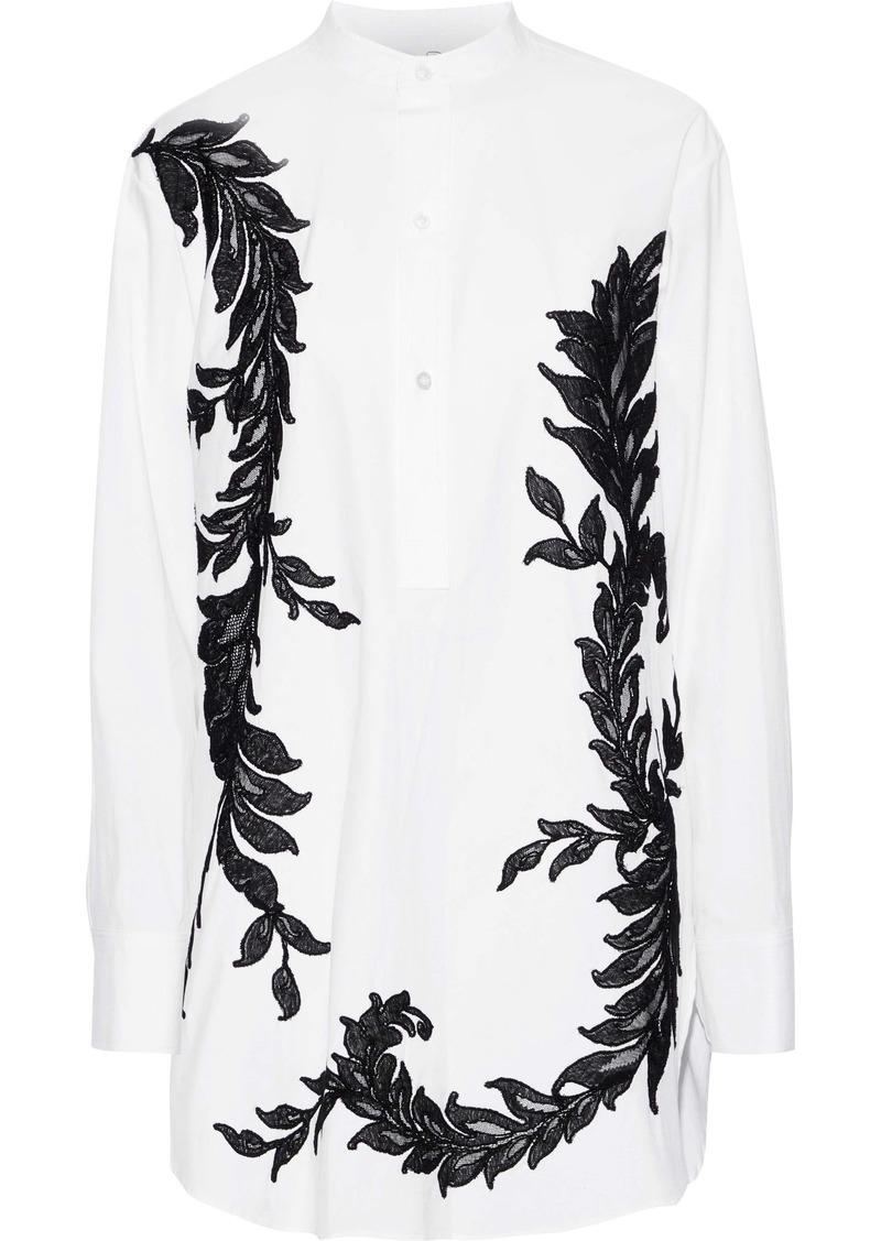Oscar De La Renta Woman Appliquéd Cotton-blend Poplin Shirt White