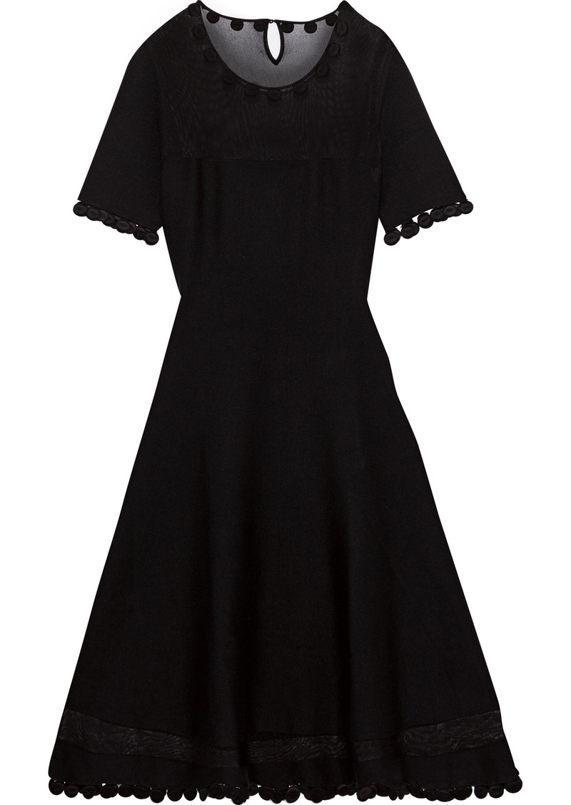 Oscar De La Renta Woman Appliquéd Wool-blend Dress Black