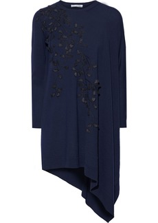 Oscar De La Renta Woman Asymmetric Appliquéd Embroidered Wool Tunic Navy