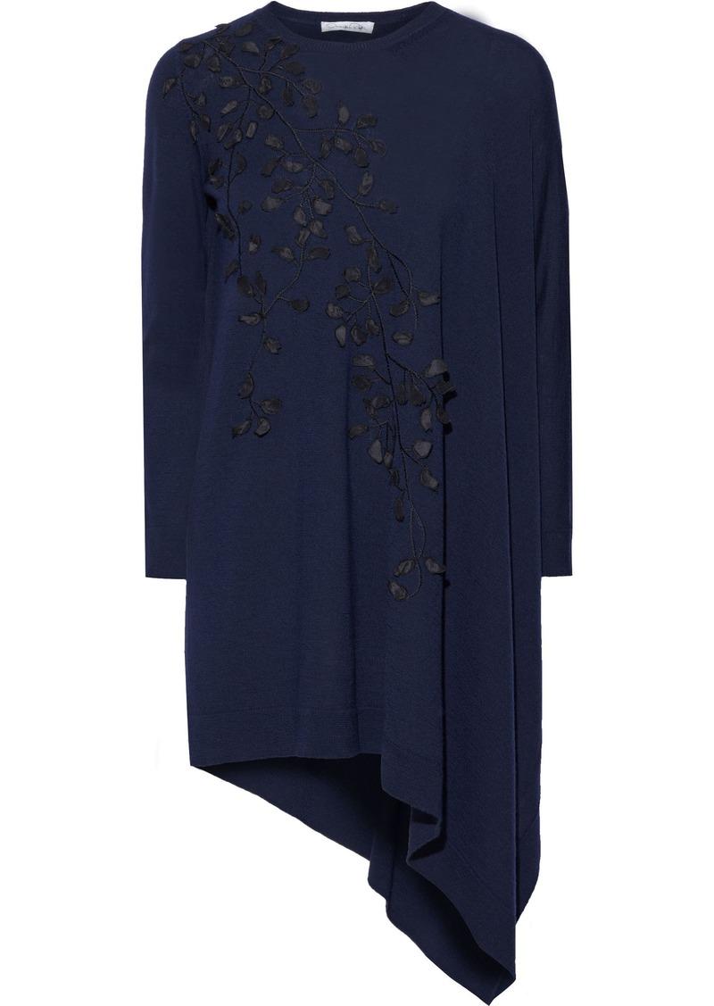 Oscar De La Renta Woman Asymmetric Appliquéd Embroidered Wool Tunic Navy