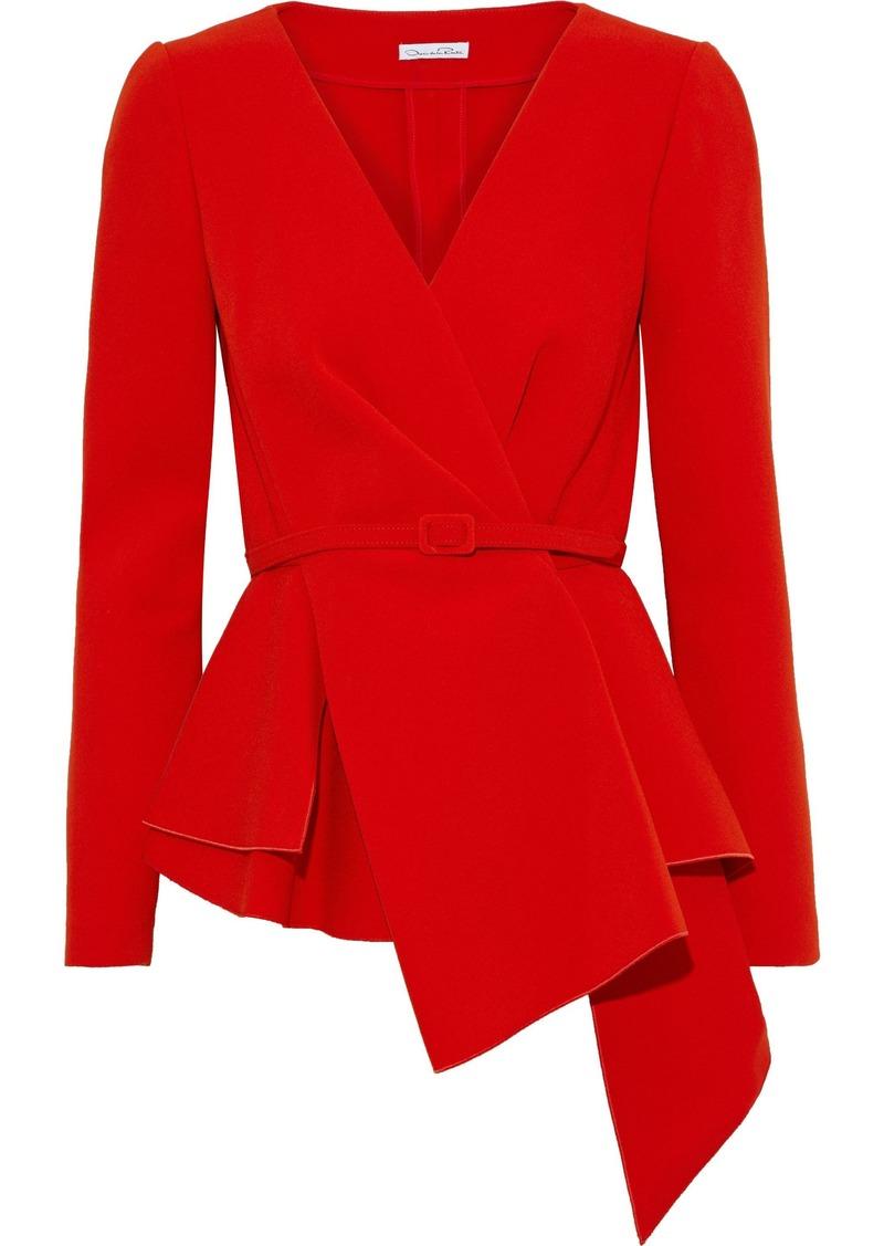 Oscar De La Renta Woman Asymmetric Belted Stretch-crepe Jacket Red