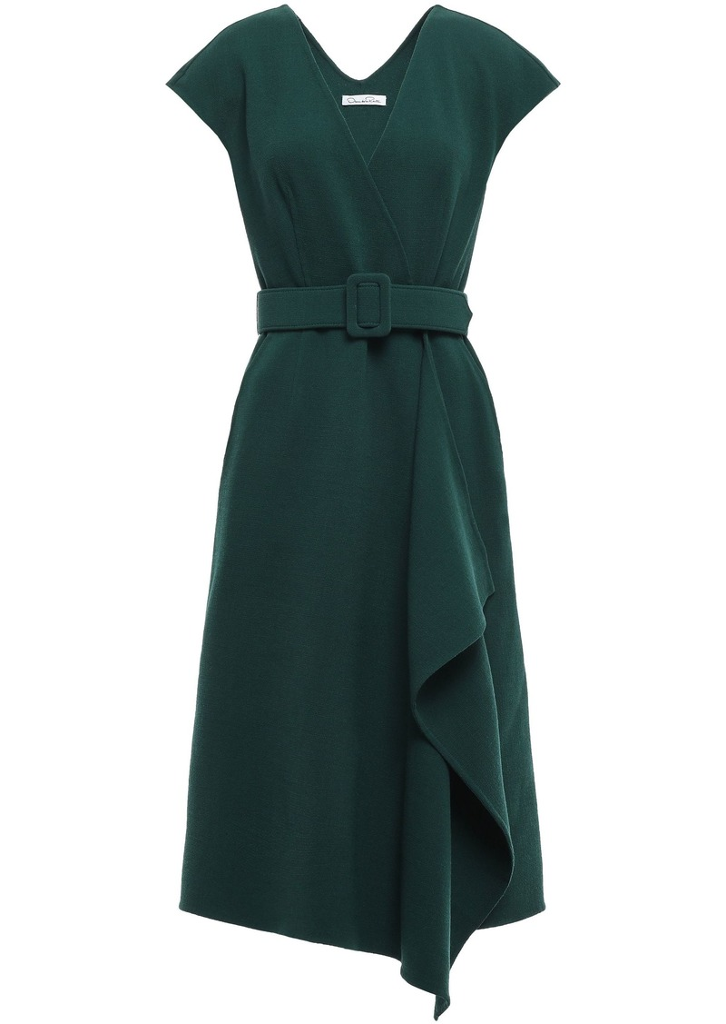 Oscar De La Renta Woman Asymmetric Belted Wool-blend Wrap Dress Dark Green