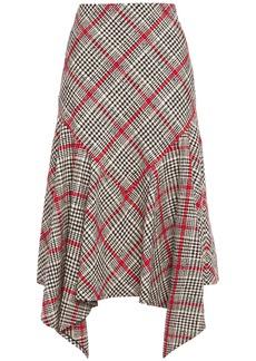 Oscar De La Renta Woman Asymmetric Checked Cotton-blend Tweed Midi Skirt Black