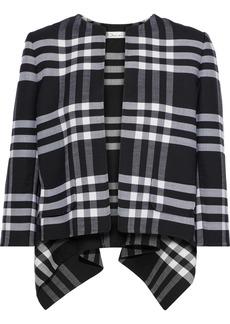 Oscar De La Renta Woman Asymmetric Checked Wool-blend Jacket Black