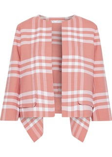 Oscar De La Renta Woman Asymmetric Checked Wool-blend Jacket Antique Rose