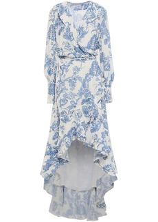 Oscar De La Renta Woman Asymmetric Devoré-velvet Wrap Dress Blue