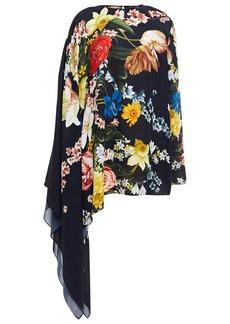 Oscar De La Renta Woman Asymmetric Draped Floral-print Silk Blouse Midnight Blue