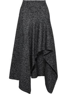Oscar De La Renta Woman Asymmetric Draped Herringbone Wool-blend Skirt Black
