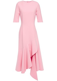 Oscar De La Renta Woman Asymmetric Wool-blend Cady Midi Dress Baby Pink