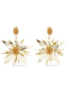 Oscar De La Renta Woman Bead And Resin Clip Earrings Gold