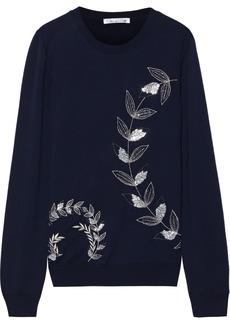 Oscar De La Renta Woman Bead-embellished Embroidered Wool Sweater Midnight Blue