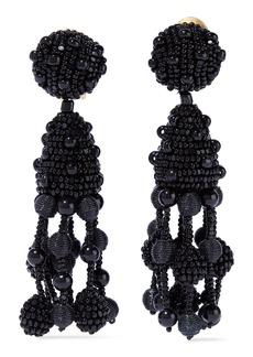 Oscar De La Renta Woman Beaded Clip Earrings Black