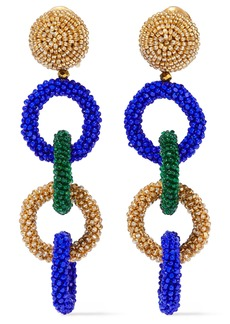 Oscar De La Renta Woman Beaded Clip Earrings Bright Blue