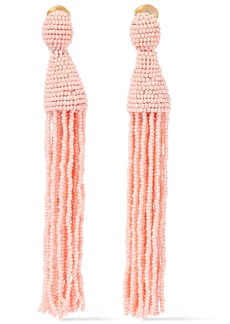Oscar De La Renta Woman Beaded Tassel Clip Earrings Baby Pink