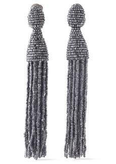 Oscar De La Renta Woman Beaded Tassel Clip Earrings Gunmetal