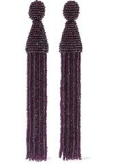 Oscar De La Renta Woman Beaded Tassel Clip Earrings Plum