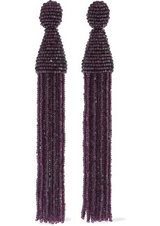 Oscar De La Renta Woman Beaded Tassel Clip Earrings Plum