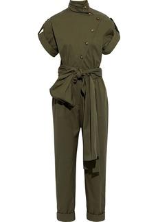 Oscar De La Renta Woman Belted Button-detailed Cotton-blend Jumpsuit Army Green