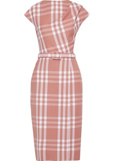 Oscar De La Renta Woman Belted Checked Wool-blend Jacquard Dress Antique Rose