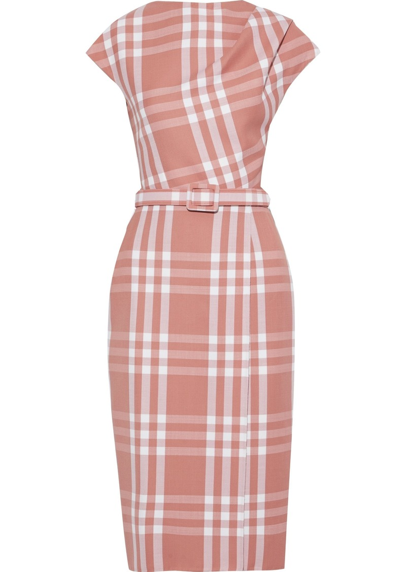 Oscar De La Renta Woman Belted Checked Wool-blend Jacquard Dress Antique Rose