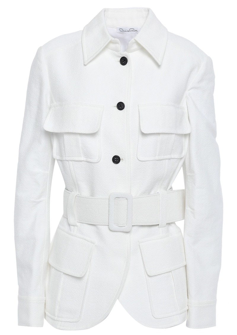Oscar De La Renta Woman Belted Cotton-crepe Jacket White