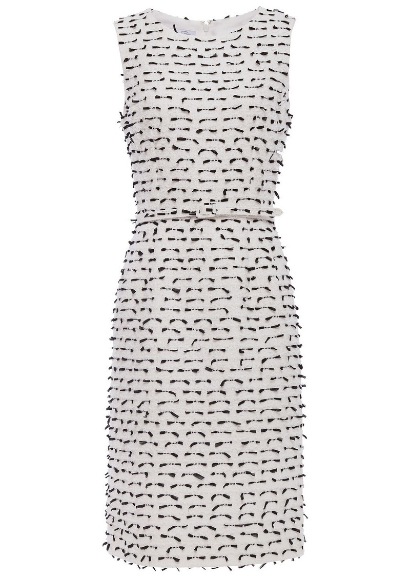 Oscar De La Renta Woman Belted Fil Coupé Cotton-blend Bouclé-tweed Dress White