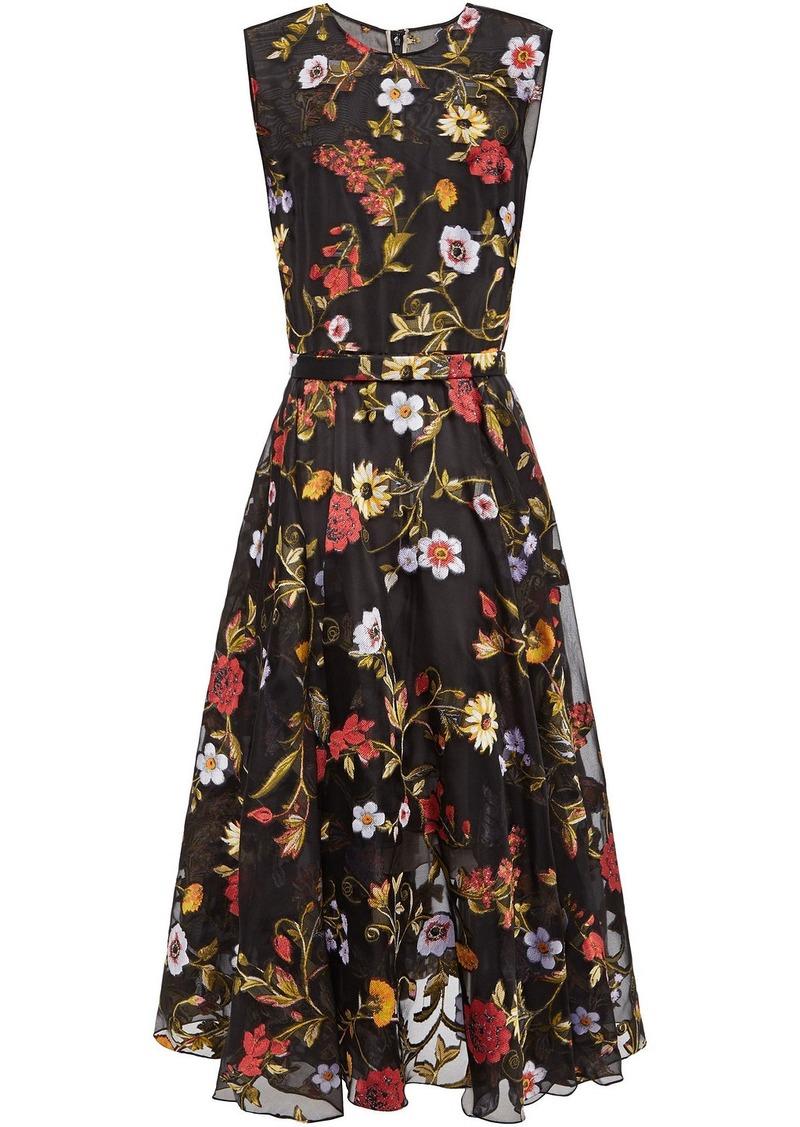 Oscar De La Renta Woman Belted Fil Coupé Silk-blend Organza Midi Dress Black