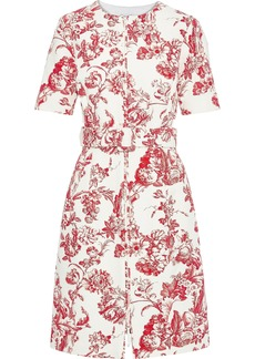 Oscar De La Renta Woman Belted Floral-print Cotton-blend Bouclé Dress Tomato Red