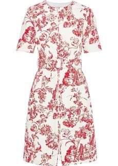 Oscar De La Renta Woman Belted Floral-print Cotton-blend Bouclé Dress Tomato Red