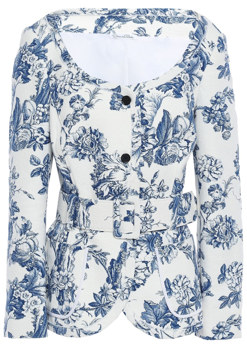 Oscar De La Renta Woman Belted Floral-print Cotton-blend Tweed Jacket White