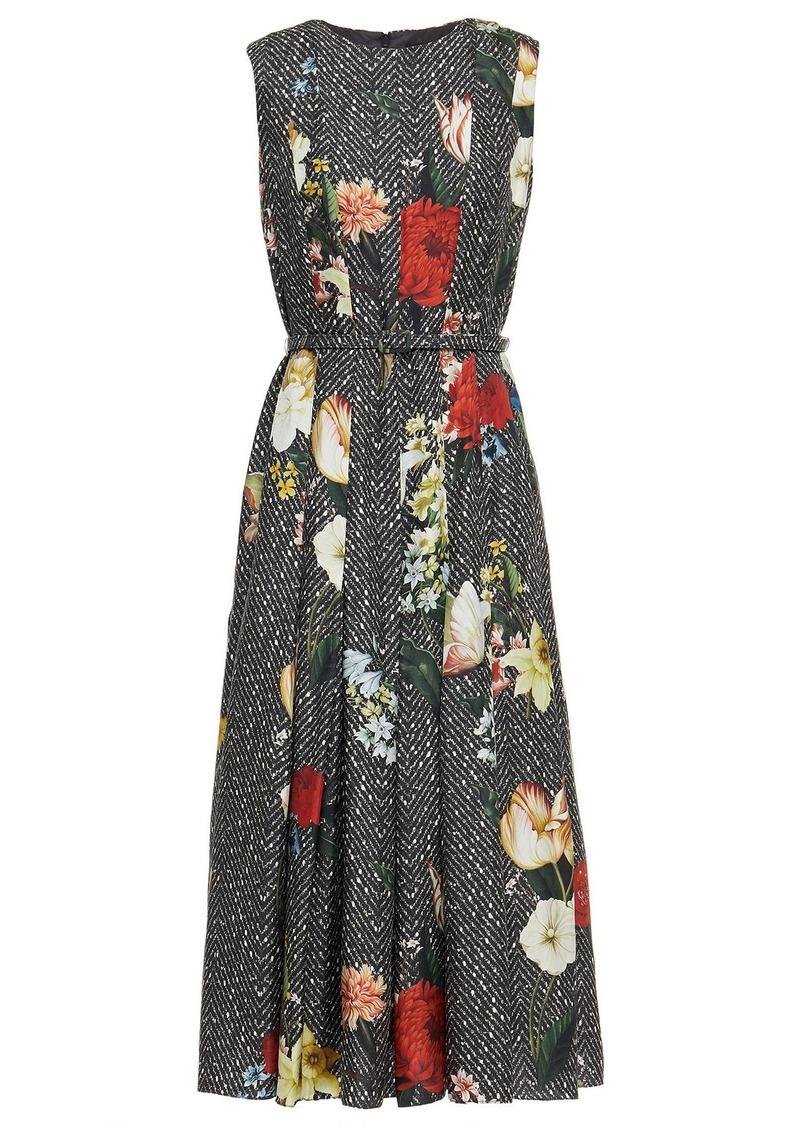Oscar De La Renta Woman Belted Floral-print Silk-twill Midi Dress Charcoal