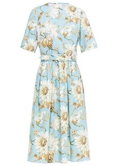 Oscar De La Renta Woman Belted Floral-print Stretch-cotton Poplin Midi Dress Sky Blue