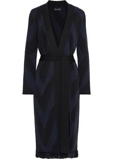 Oscar De La Renta Woman Belted Frayed Jacquard-knit Cardigan Black