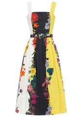 Oscar De La Renta Woman Belted Gathered Floral-print Cotton-blend Poplin Midi Dress Multicolor